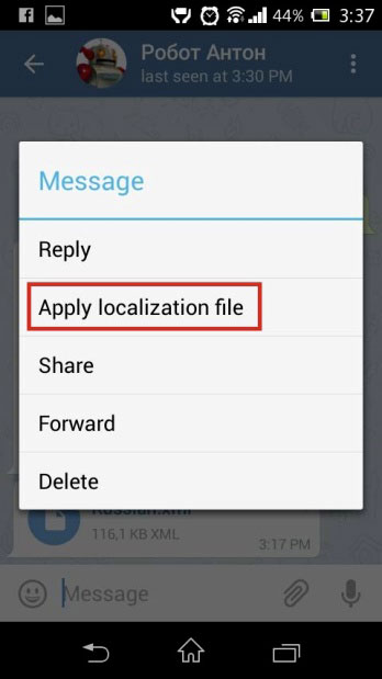 Apply localization file