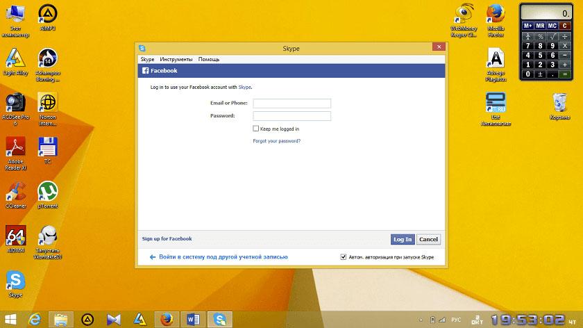 вход с Фейсбука