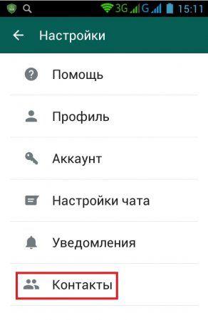 "подменю ""Contacts"""